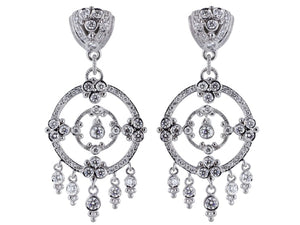 Estate 5.25 Carat Round Brilliant Cut Diamond Chandelier Earrings - Jewelry Boston