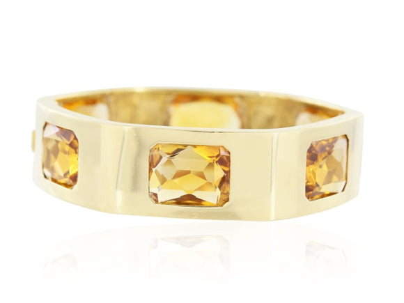Estate 52.55 Carat Citrine Yellow Gold Wide Bangle - Jewelry Boston