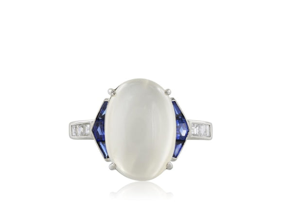 Estate 7.40 Moonstone And Sapphire Ring (Platinum) - Jewelry Boston