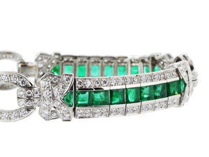 Estate 8.00 Carat Emerald And Diamond Bracelet (Platinum) - Jewelry Boston