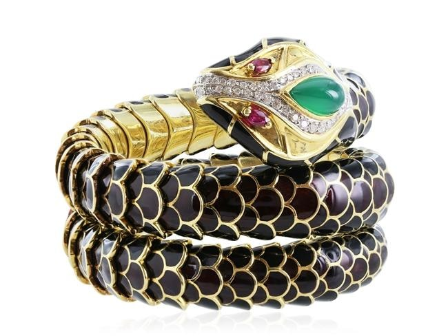 Estate Black Enamel Snake Bracelet W/ Diamonds Emeralds And Rubies - Jewelry Boston