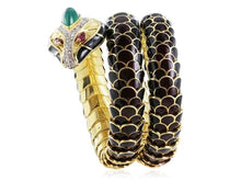 Load image into Gallery viewer, Estate Black Enamel Snake Bracelet W/ Diamonds Emeralds And Rubies - Jewelry Boston