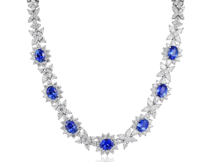 Estate Blue Sapphire and Diamond Necklace (18k White Gold
