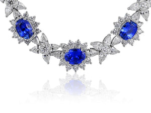 Estate Blue Sapphire And Diamond Necklace (18K White Gold) - Jewelry Boston