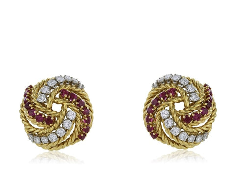 Estate Boucheron Ruby And Diamond Earrings (18K Yellow Gold) - Jewelry Boston