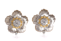 Estate Buccellati 18K White Gold Flower Style Earrings W/ Diamonds - Jewelry Boston