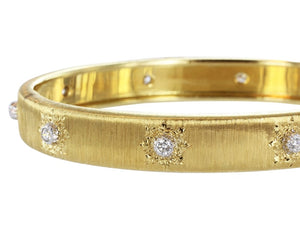 Estate Buccellati Classica Diamond Bangle Bracelet - Jewelry Boston