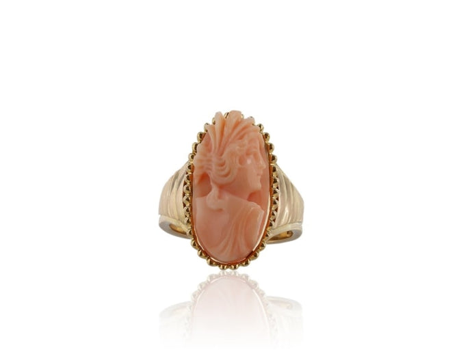 Estate Carved Angel Skin Coral Cameo Ring (18K Yellow Gold) - Jewelry Boston