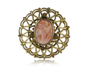 Estate Carved Coral Victorian Pin (14K Yellow Gold) - Jewelry Boston