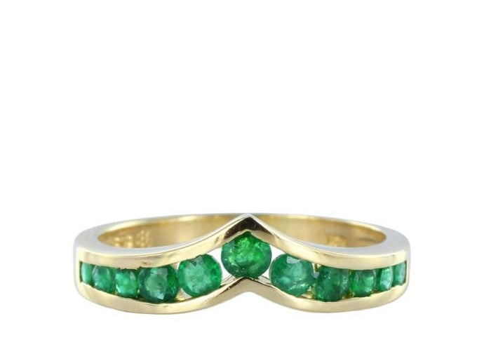 Estate Channel Set Emerald Wedding Band (14K Yellow Gold) - Jewelry Boston