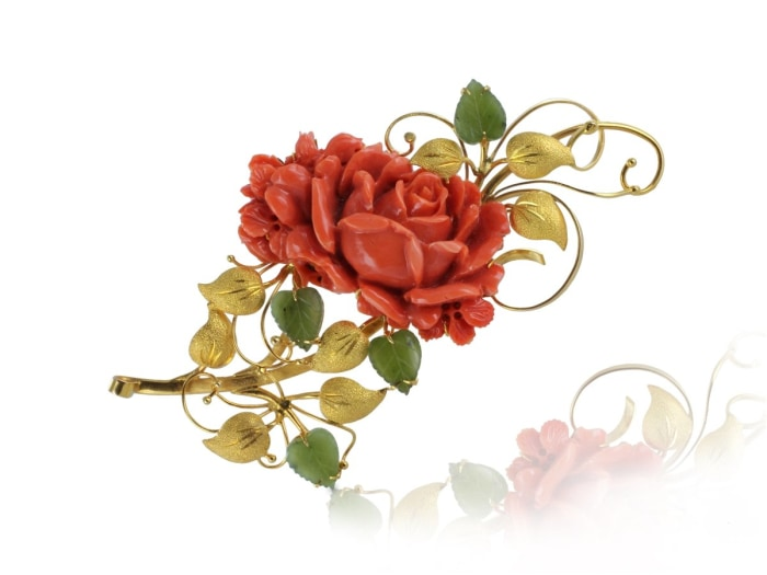 Estate Coral Flower Pin (14K Yellow Gold) - Jewelry Boston