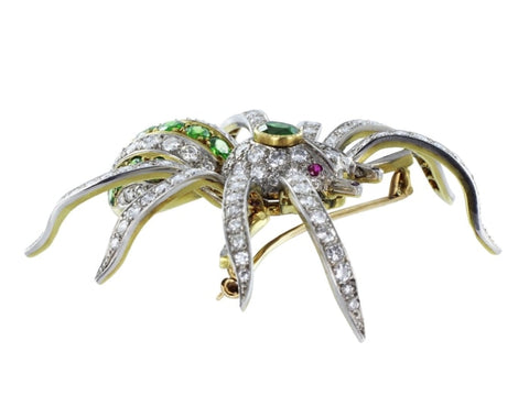 Estate Demantoid Garnet And Diamond Spider Pin (Platinum) - Jewelry Boston