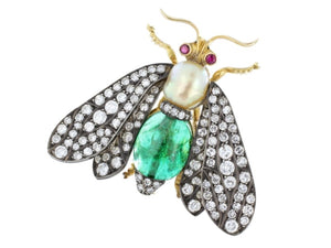 Estate Diamond Emerald And Pearl Insect Pin (18K Yellow Gold) - Jewelry Boston