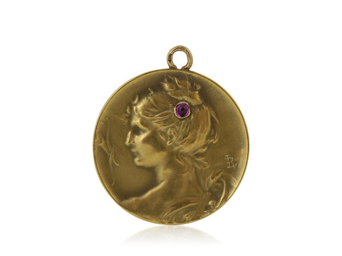 Estate French Art Nouveau Ruby Pendant (18K Yellow Gold) - Jewelry Boston