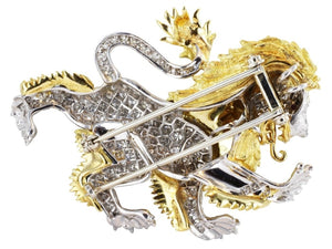 Estate Mcteigue 2.00 Carat Diamond Lion Pin (Platinum) - Jewelry Boston