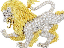 Load image into Gallery viewer, Estate Mcteigue 2.00 Carat Diamond Lion Pin (Platinum) - Jewelry Boston