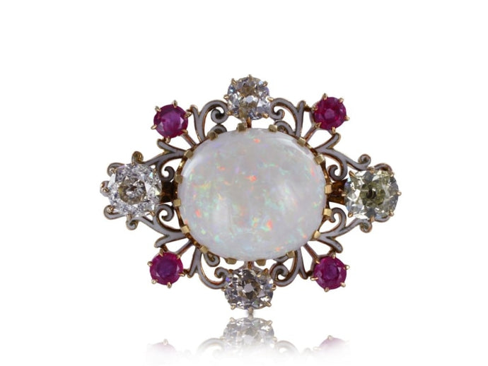 Estate Opal Diamond And Ruby Pin (14K Yellow Gold) - Jewelry Boston