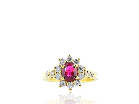 Estate Ruby And Diamond Ring (14K Yellow Gold) - Jewelry Boston