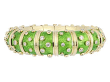 Load image into Gallery viewer, Estate Tiffany & Co. Green Paillonne Enamel & Gold Schlumberger Bangle Bracelet - Jewelry Boston