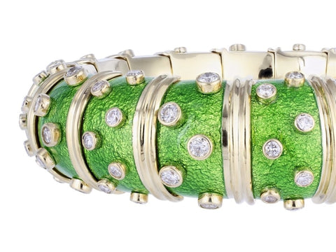Estate Tiffany & Co. Green Paillonne Enamel & Gold Schlumberger Bangle Bracelet - Jewelry Boston