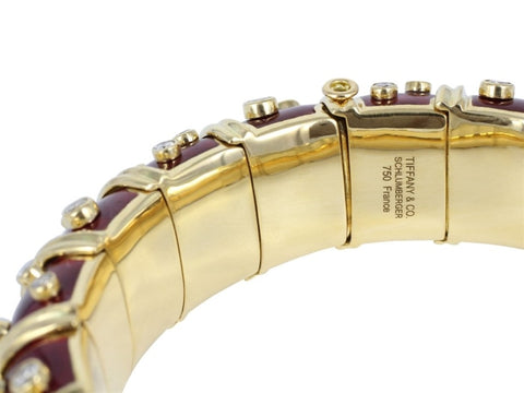 Estate Tiffany & Co. Red Paillonne Enamel & Gold Schlumberger Bangle Bracelet - Jewelry Boston