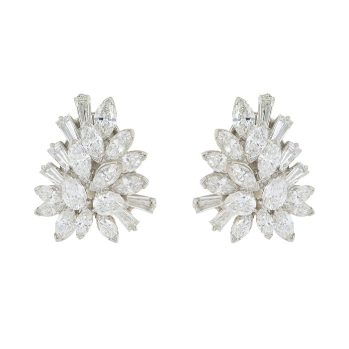 Fancy Shaped Diamond Oscar Heyman Earrings (Platinum) - JEWELRY Boston