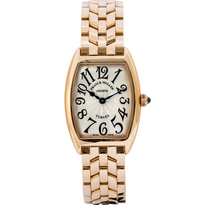 Franck Muller Ladies Cintree Curvex Solid Rose Gold on Bracelet 25mm (1752 QZ) - Boston