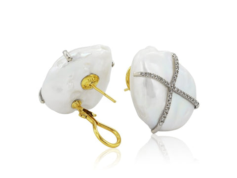 Fresh Water Pearl And Diamond Earrings - Jewelry Boston