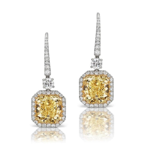 Gia Certified 10.23 Ct. Fancy Yellow Vvs1 Diamond Drop Earrings - Jewelry Boston