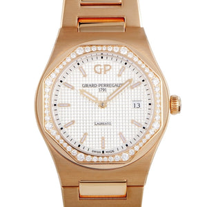 Girard-Perregaux Laureato 34mm Pink Gold/Diamond Bezel (Ref#80189D52A132-52A) - WATCHES Boston