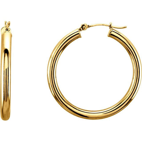 Gold Hoop Earrings (14k Yellow Gold 30mm) - JEWELRY Boston