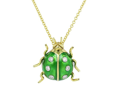 Green Enamel & Diamond Estate Ladybug Pendant - Jewelry Boston