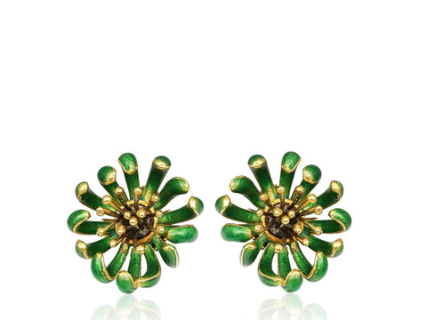 Green Enamel Floral Clip Earrings - Jewelry Boston