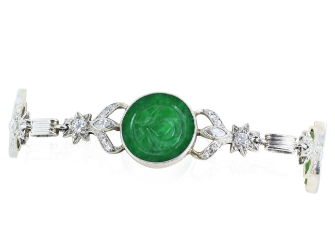 Green Jadeite Jade & Diamond Bracelet - Jewelry Boston