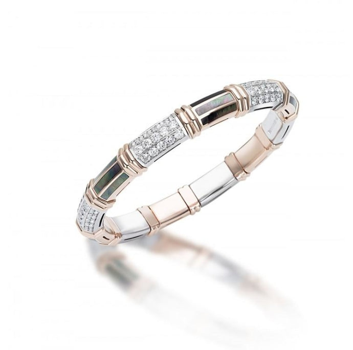 Green Mother of Pearl & Diamond Xpandable Bracelet (Two Tone) - Jewelry Designers Boston