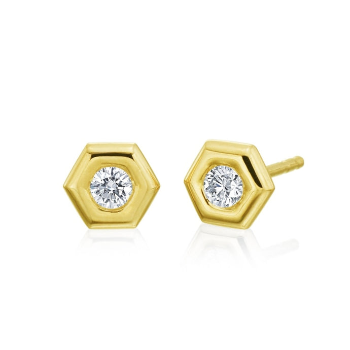 Gumuchian 0.18 Carat Mini B Stud Earrings H-I/VS-SI1 (Yellow Gold) - Jewelry Designers Boston