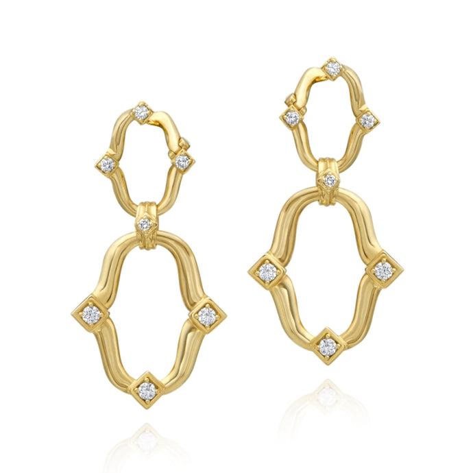 Gumuchian 0.65 Carat Secret Garden Linked Motif Earrings H-I/VS/SI1 (Yellow Gold) - Jewelry Designers Boston
