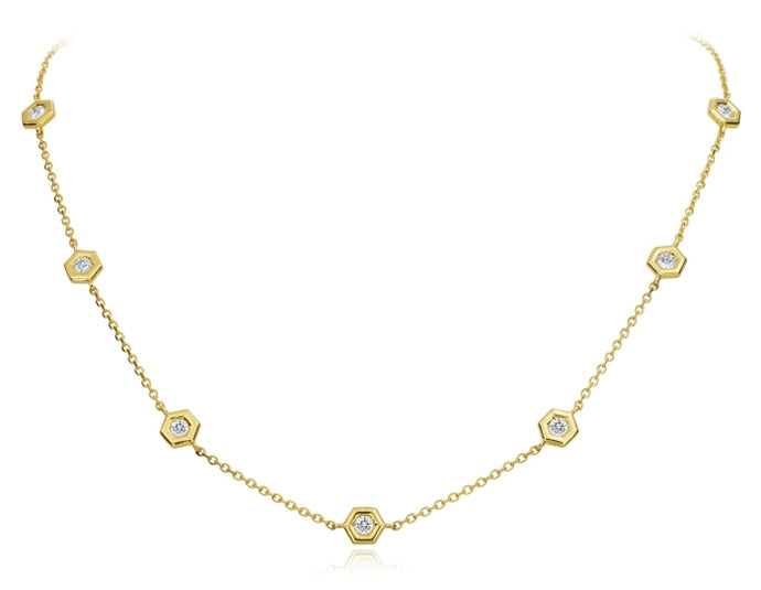 Gumuchian 0.84 Carat Mini B Diamond by the Yard Necklace H-I/VS-SI1 (Yellow Gold) - Jewelry Designers Boston