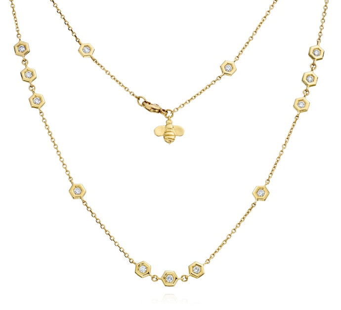 Gumuchian 0.97 Carat Mini B Cluster Diamond Station Necklace H-I/VS-SI1 (Yellow Gold) - Jewelry Designers Boston