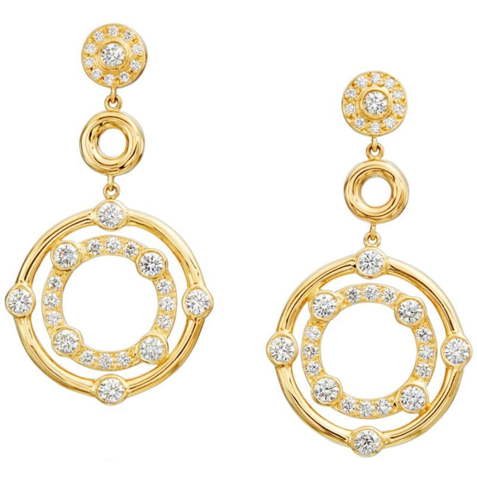 Gumuchian 2.30 Carat Carousel Diamond Drop Earrings H-I/SI1 (Yellow Gold) - Jewelry Designers Boston