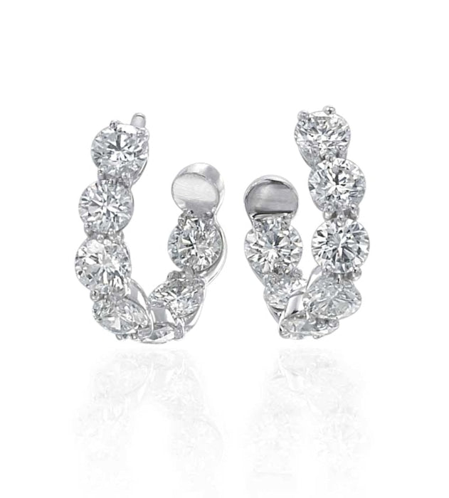 Gumuchian 3.01 Carat New Moon Diamond Earrings H-I/VS-SI1 (White Gold) - Jewelry Designers Boston
