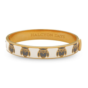 Halcyon Days 18K Gold / Cream Enamel Owl Motif Hinged Bangle (10Mm) - Gifts Boston