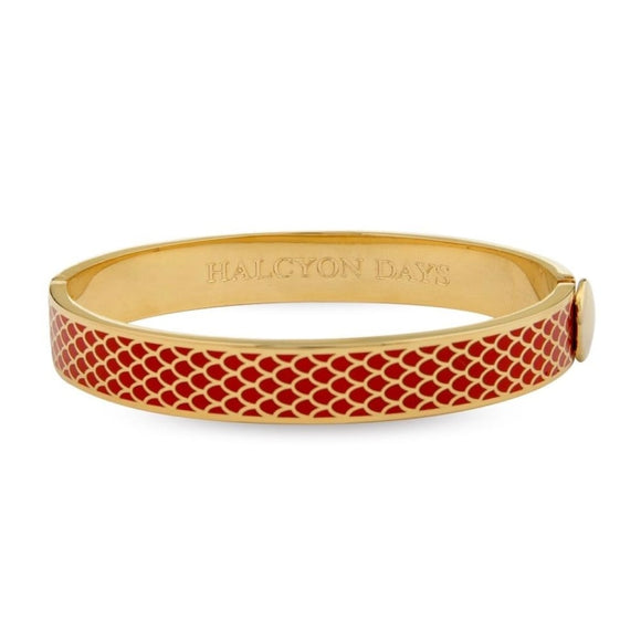 Halcyon Days 18K Gold / Red Salamander Enamel Hinged Bangle (10Mm) - Gifts Boston