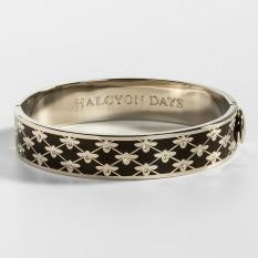 Halcyon Days Bee Sparkle Trellis Black & Palladium Hinged Bangle - GIFTS Boston