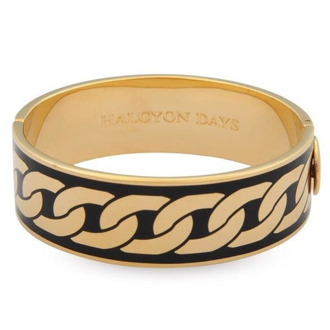 Halcyon Days Gold & Black Curbed Chain Enamel Hinged Bangle (19mm) - GIFTS Boston