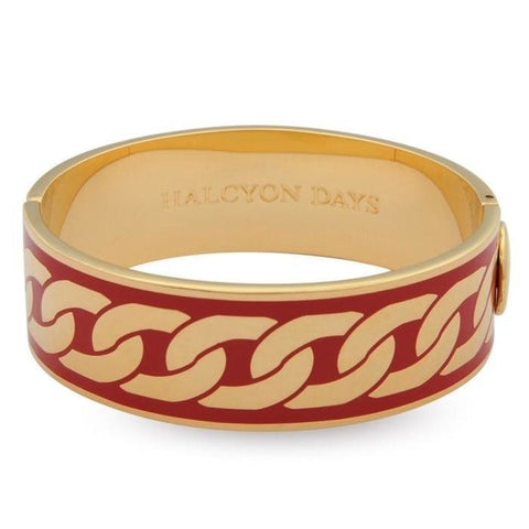 Halcyon Days Gold & Red Curbed Chain Enamel Hinged Bangle (19mm) - GIFTS Boston