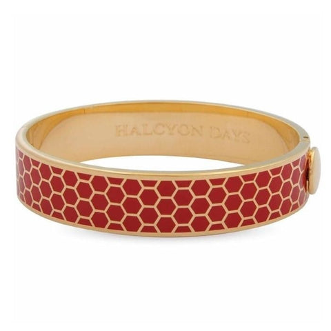Halcyon Days Gold & Red Enamel Honeycomb Hinged Bangle (13mm) - GIFTS Boston
