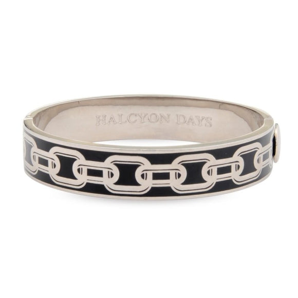 Halcyon Days Palladium / Black Chain Enamel Hinged Bangle (13Mm) - Gifts Boston