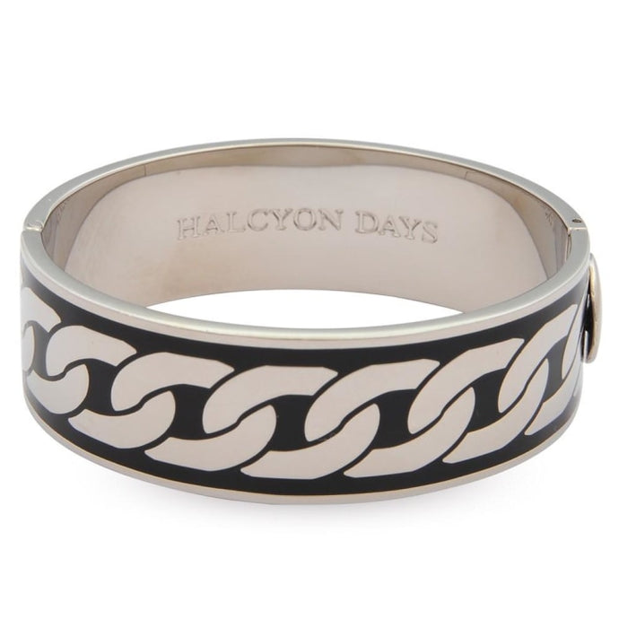 Halcyon Days Palladium / Black Curbed Chain Enamel Hinged Bangle (19Mm) - Gifts Boston