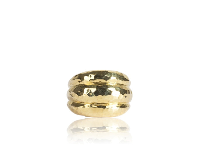 Hammered Dome Scallop Ring (Yellow Gold) - JEWELRY Boston